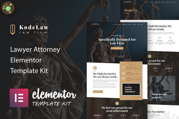 Kodelaw - Lawyer Attorney Elementor Template Kit - Business & Services Elementor