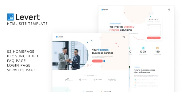 Levert - Financial Business HTML Site Template - Business Corporate