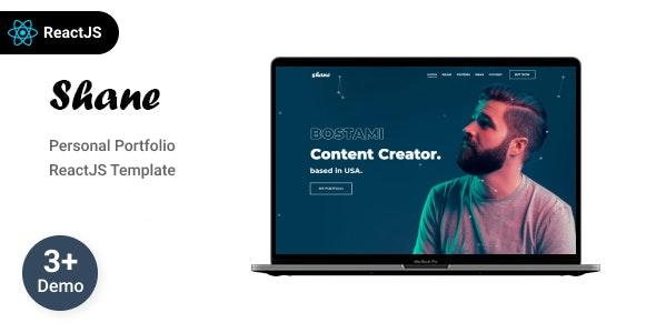 Shane - Personal Portfolio React  Template - Virtual Business Card Personal