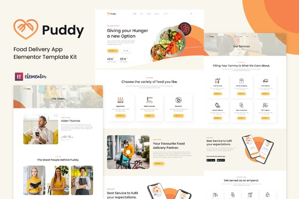 Puddy - Food Delivery App Elementor Template Kit - Food & Drink Elementor