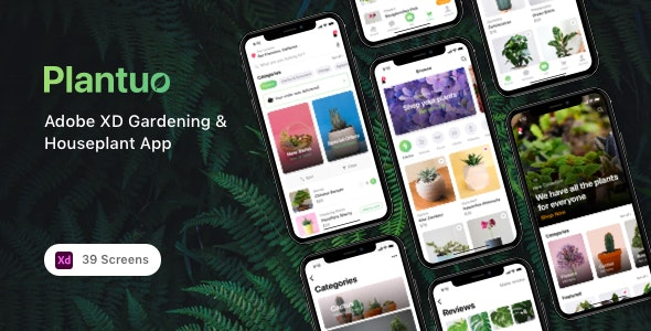 Plantuo - Adobe XD Gardening & Houseplant App - Shopping Retail