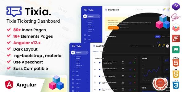 Tixia - Angular Admin Dashboard Template - Admin Templates Site Templates