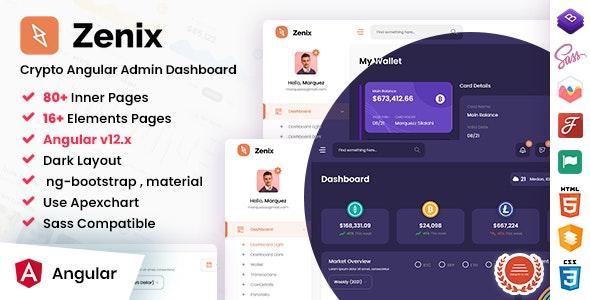 Zenix - Angular 12 Crypto Admin  Dashboard Template No jQuery - Admin Templates Site Templates