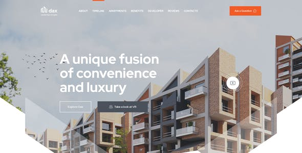 DAX - Apartment Complex, Single Property Landing Page PSD Template