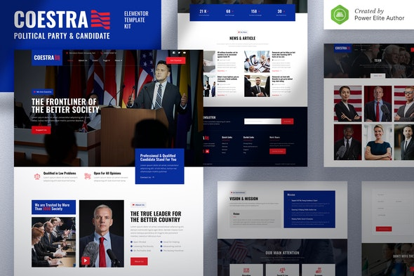 Coestra – Political Party & Candidate Elementor Template Kit - Non-Profit & Religion Elementor