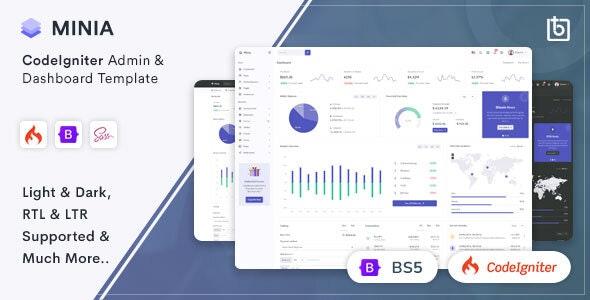 Minia - CodeIgniter 4 Admin & Dashboard Template - Admin Templates Site Templates