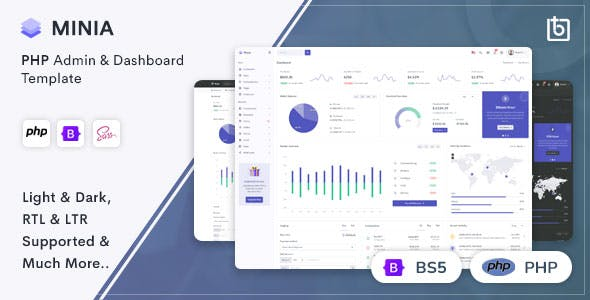 Minia - PHP Admin & Dashboard Template