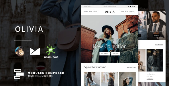 Olivia v1.0 – E-commerce Responsive Email for Fashion & Accessories with Online Builder