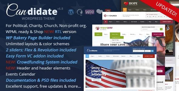 Candidate - Political/Nonprofit/Church WordPress Theme - Political Nonprofit