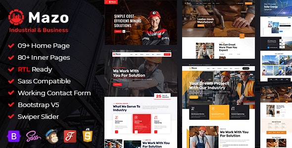 Mazo - Industry & Factory Bootstrap 5 HTML Template + RTL - Business Corporate