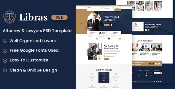 Libras - Attorney & Lawyers PSD Template - Business Corporate
