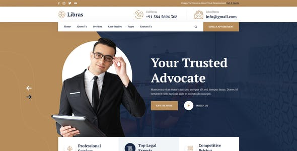 Libras - Attorney & Lawyers PSD Template