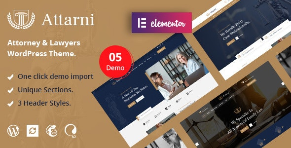 Attarni – Attorney & Lawyers WordPress Theme - Business Corporate