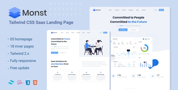 Monst - Tailwind Saas landing page - Site Templates