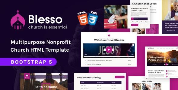 Blesso   Multipurpose Nonprofit Church HTML Template - Nonprofit Site Templates