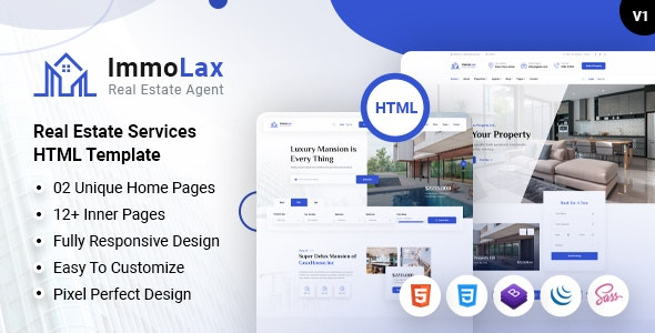 Immolax - Real Estate Sale & Rental Agency Services HTML Template - Business Corporate