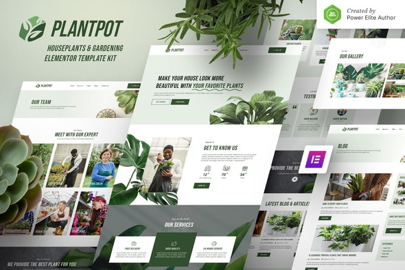 Plantpot – Houseplants & Gardening Elementor Template Kit - Business & Services Elementor