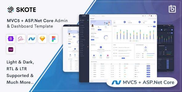 Skote - ASP.Net Core & MVC5 Admin & Dashboard Template