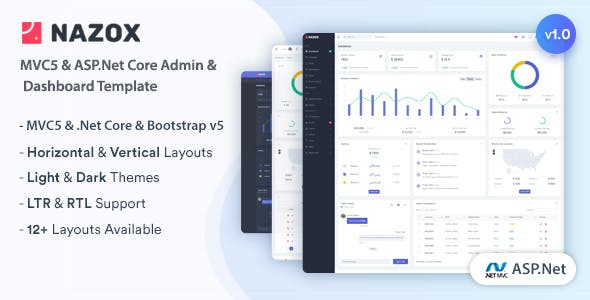 Nazox - ASP.Net Core & MVC5 Admin & Dashboard Template