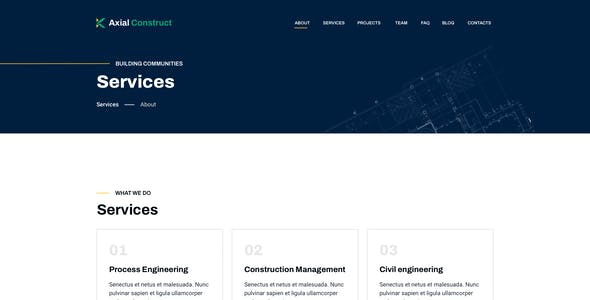 Axial – Construction Company Template for Photoshop