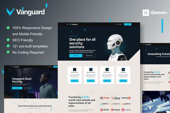Vanguard - Cyber Security Service Elementor Template Kit - Business & Services Elementor