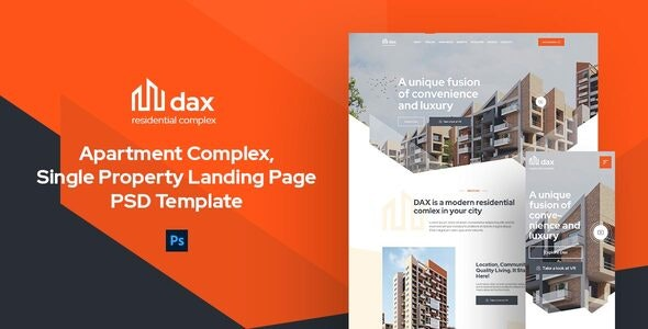 DAX - Apartment Complex Landing Page PSD Template - Business Corporate