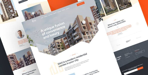 DAX - Apartment Complex Landing Page PSD Template