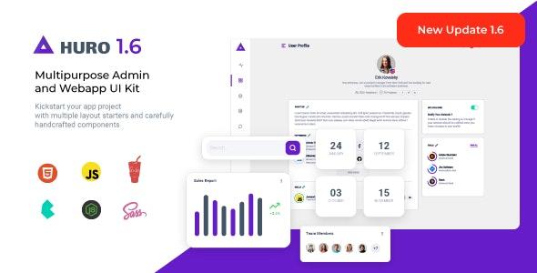 Huro - Multipurpose Admin and Webapp UI Kit - Admin Templates Site Templates