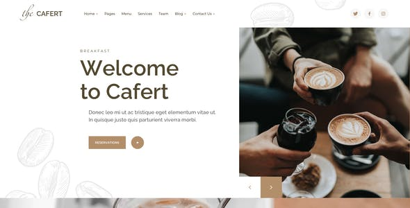 Cafert – Cafe Template for Sketch