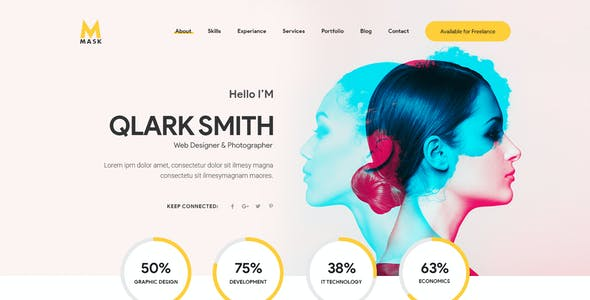 Mask - Personal CV, Resume, Portfolio & vCard Adobe XD Template