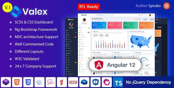Valex – Angular Admin & Dashboard Template - Admin Templates Site Templates