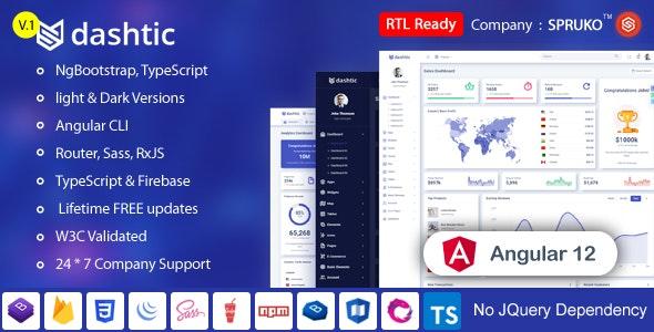 Dashtic - Angular Admin & Dashboard Template - Admin Templates Site Templates