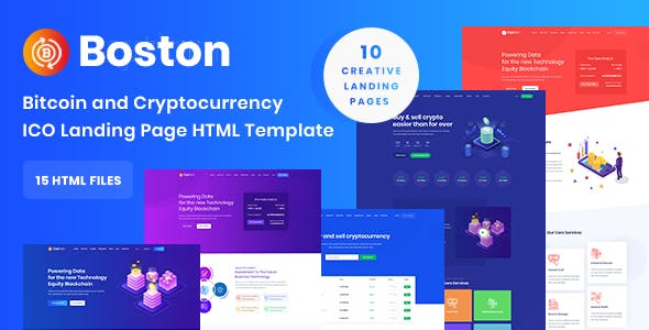 Boston - Bitcoin & Cryptocurrency ICO Landing Page HTML Template