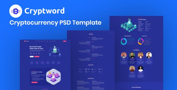 Cryptword - Cryptocurrency ICO Landing Page PSD Template