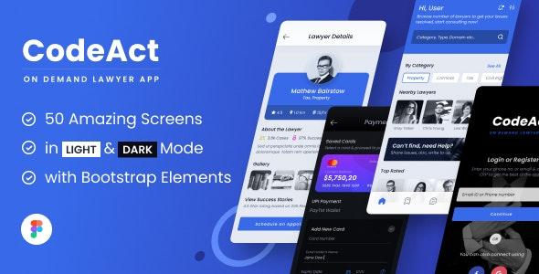 CodeAct   Legal & Lawyer Services Mobile App Figma UI Template - Corporate Figma