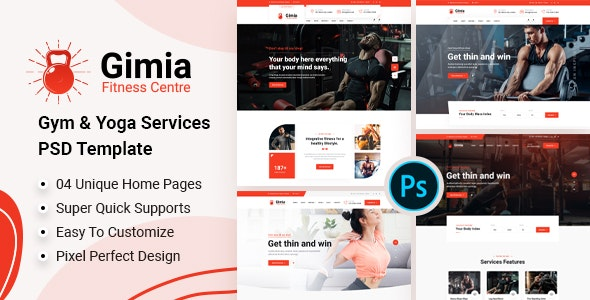 Gimia - Gym & Yoga Services PSD Template - Health & Beauty Retail