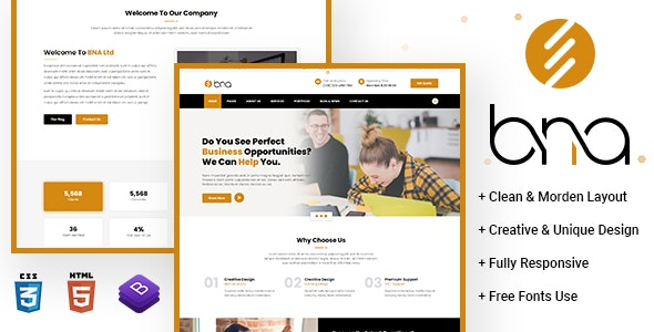BNA Multipurpose HTML Template - Business Corporate