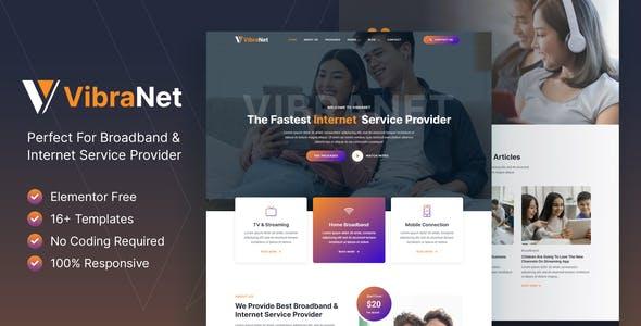 Vibranet – Broadband & Internet Service Provider Elementor Template Kit