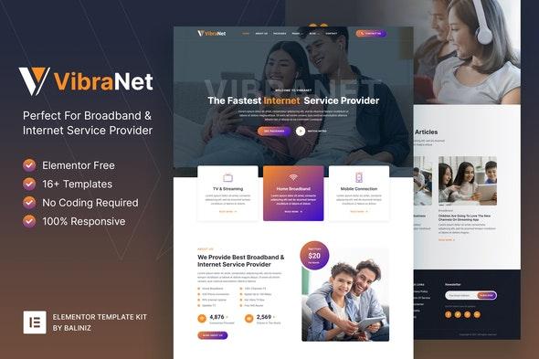 Vibranet – Broadband & Internet Service Provider Elementor Template Kit - Business & Services Elementor