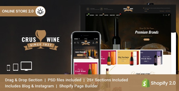 Cruswine v2.0.0 – Sectioned Shopify Theme