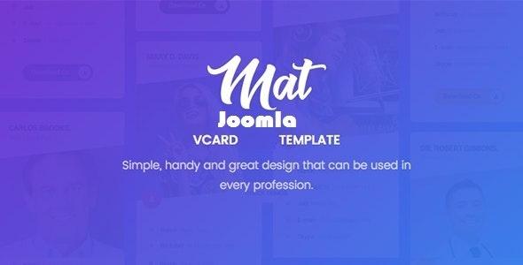 Mat - vCard & Resume Joomla 4 Template - Personal Blog / Magazine