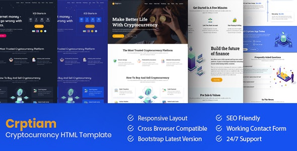 Crptiam - Cryptocurrency Landing Page HTML Template - Technology Site Templates