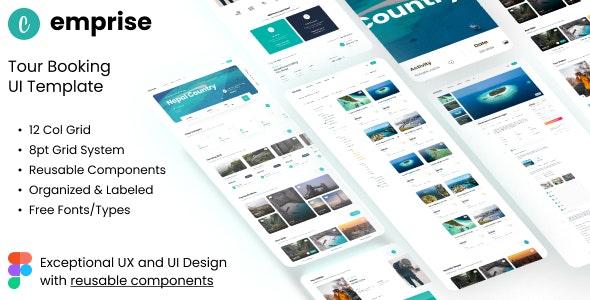 Emprise UI   Tour Travel Landing Page   Figma Template - Travel Retail