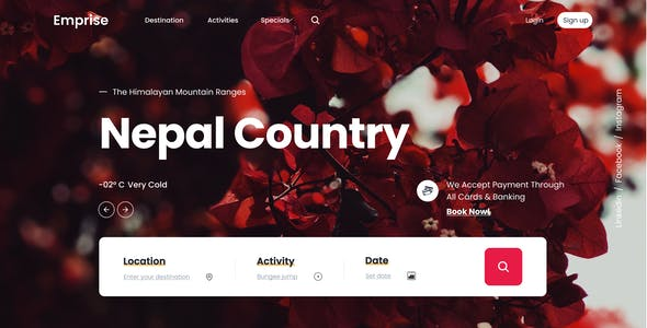 Emprise UI | Tour Travel Landing Page | Figma Template
