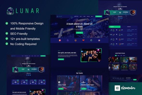 Lunar - Esports & Gaming Elementor Template Kit - Events & Entertainment Elementor