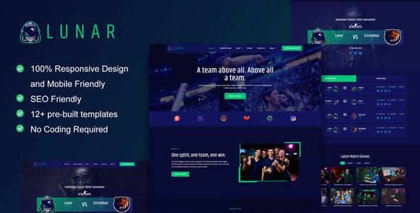 Lunar - Esports & Gaming Elementor Template Kit
