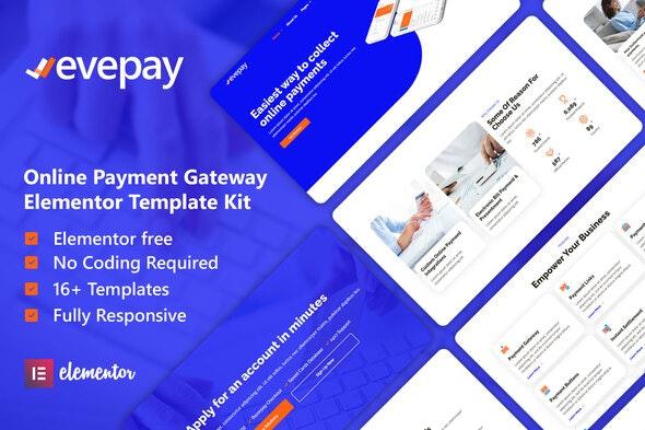 Evepay - Online Payment Gateway Elementor Template Kit - Technology & Apps Elementor