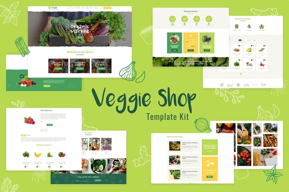 Veggie | Organic Food & Eco Online Store Products Template Kit - Food & Drink Elementor