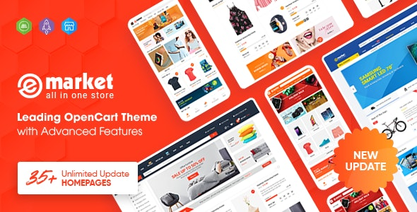eMarket - Multipurpose MarketPlace OpenCart 3 Theme (35+ Homepages & Mobile Layouts Included) - OpenCart eCommerce