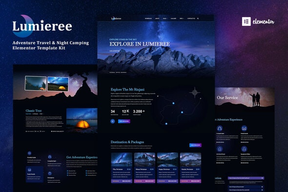 Lumieree -  Adventure Travel & Night Camping Elementor Template Kit - Travel & Accomodation Elementor